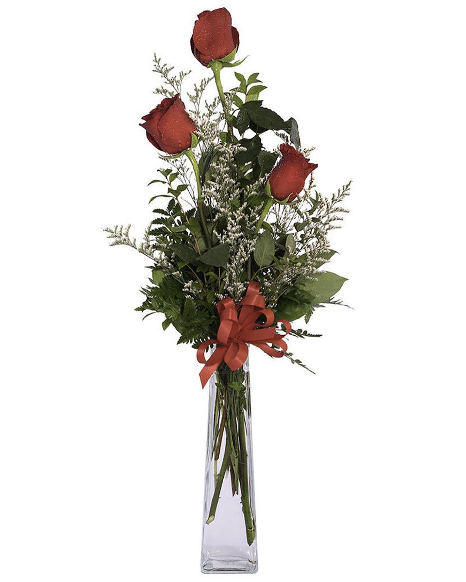 3 of a Kind-Standard (3 Red roses arranged in a vase)