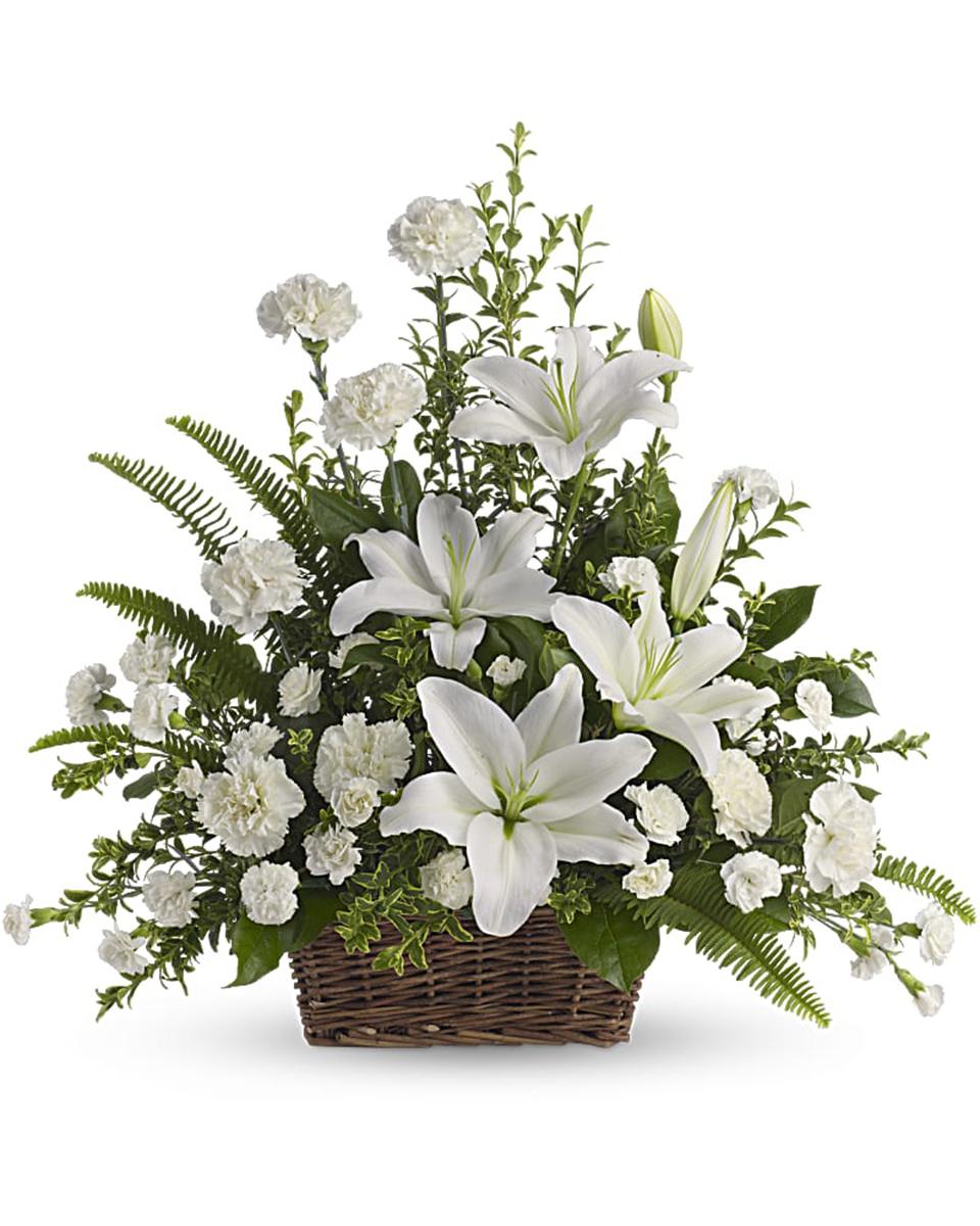 Peaceful White Lilies Basket - Standard