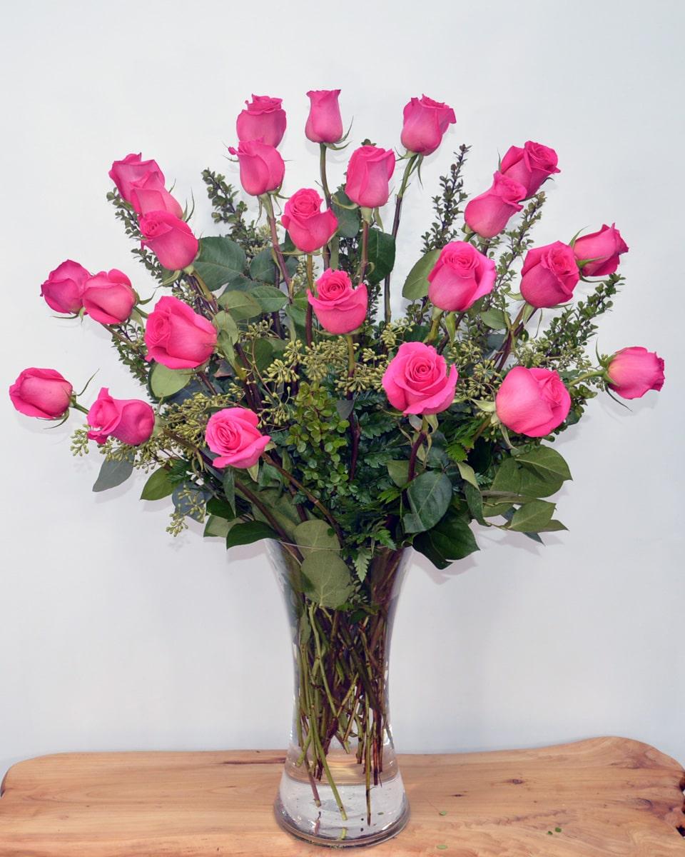 24 Pink Floyd Roses Arranged in a Vase