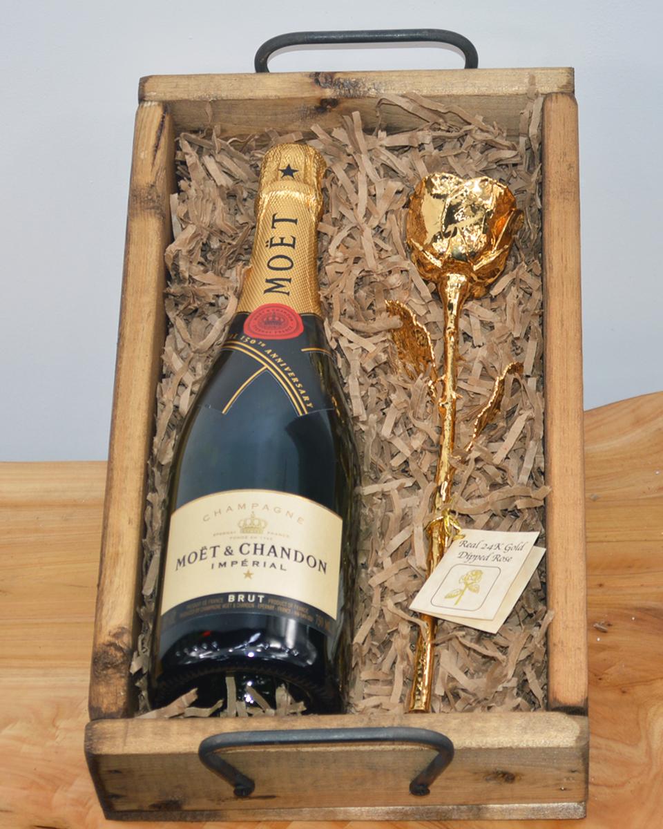 Champagne & 24 Karat Gold Rose