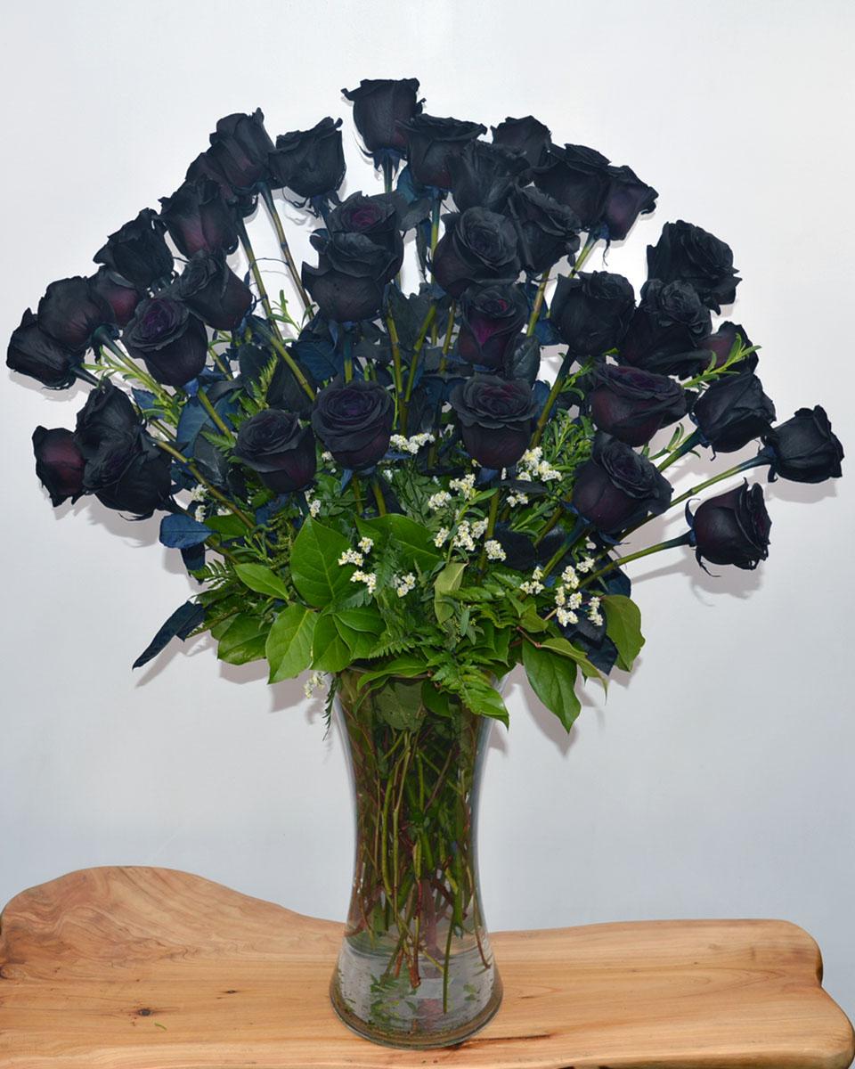 36 Black Magic Roses arranged in a Vase