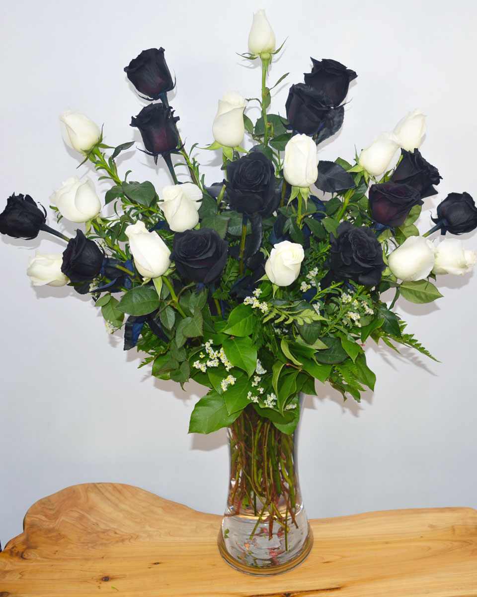 12 Black Magic Roses, 12 White Roses Arranged in a vase