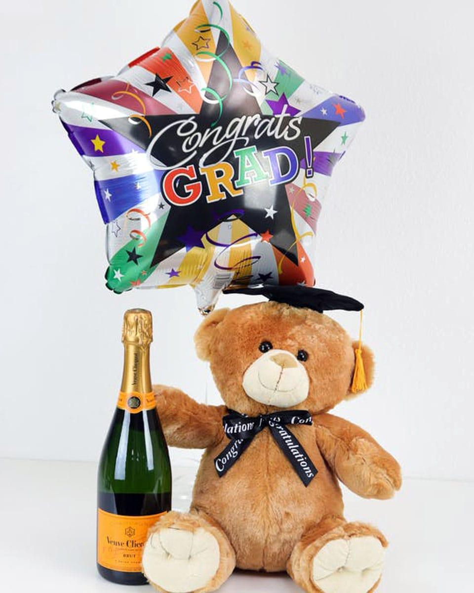 Grad Bear, Bubbly, and Balloon