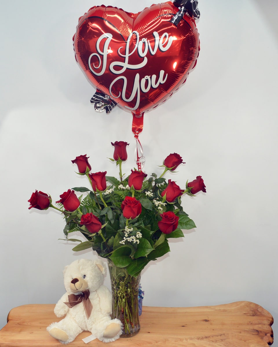 PS I Love You-Standard-12 Red Roses, I Love You Mylar, Teddy Bear