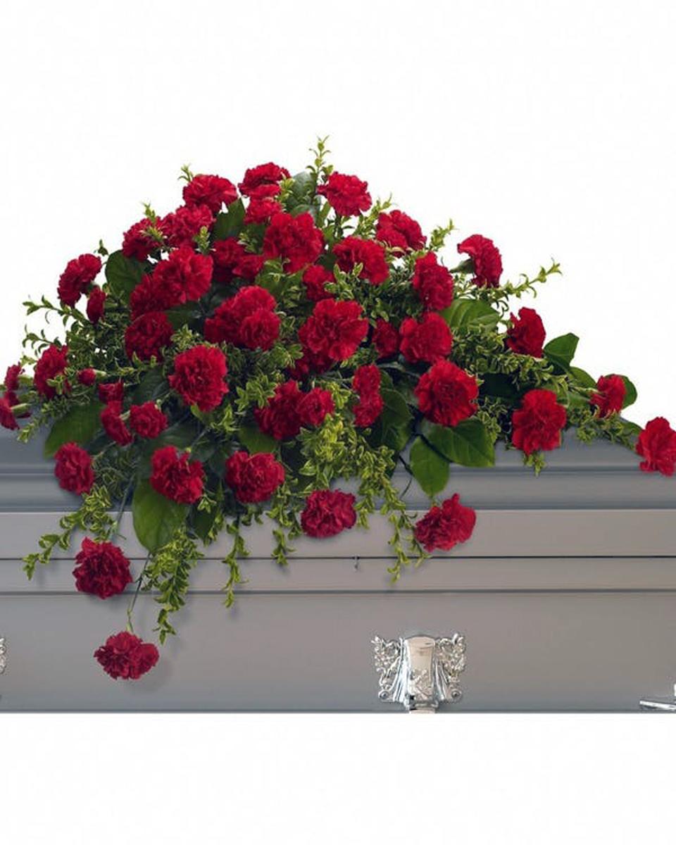 Red Carnation Half Casket Spray-Standard