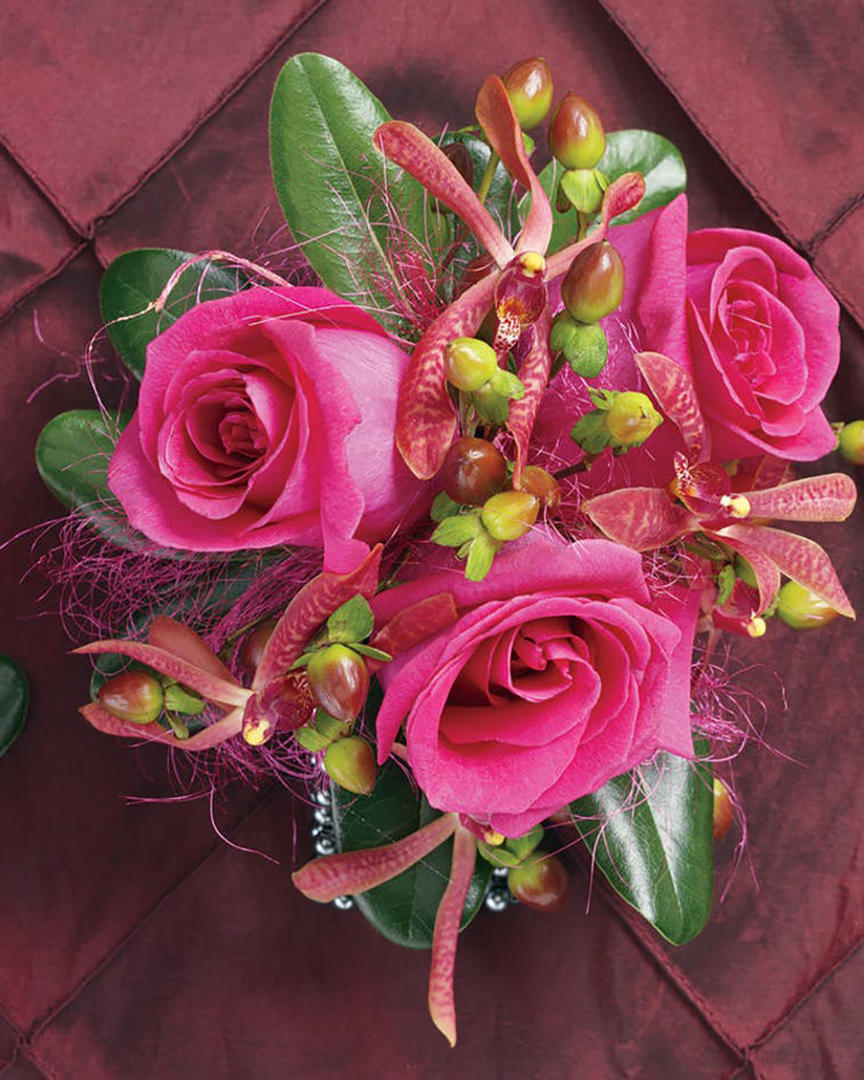 With 3Hot Pink Roses-Standard