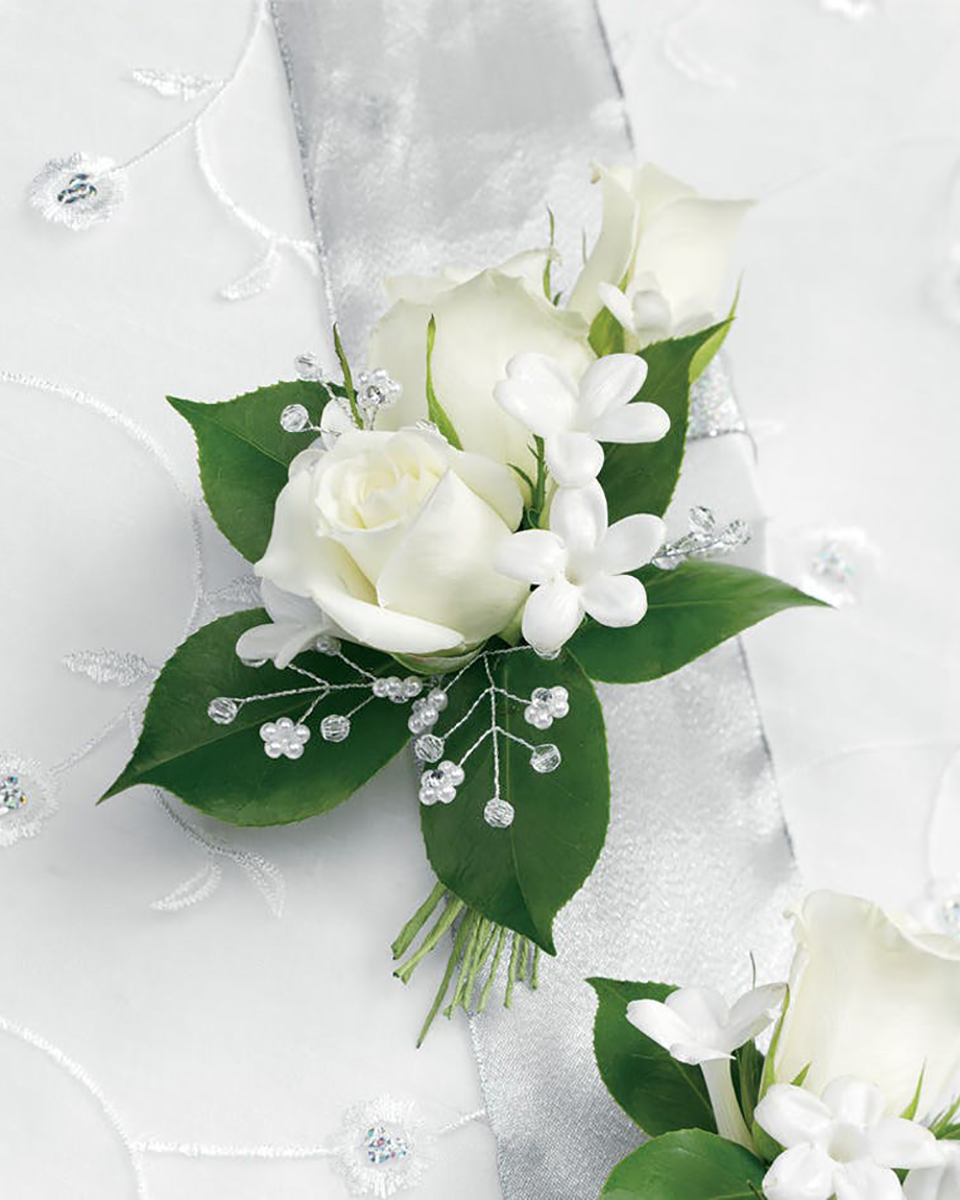 With 3 White Roses and Stephanotis-Standard