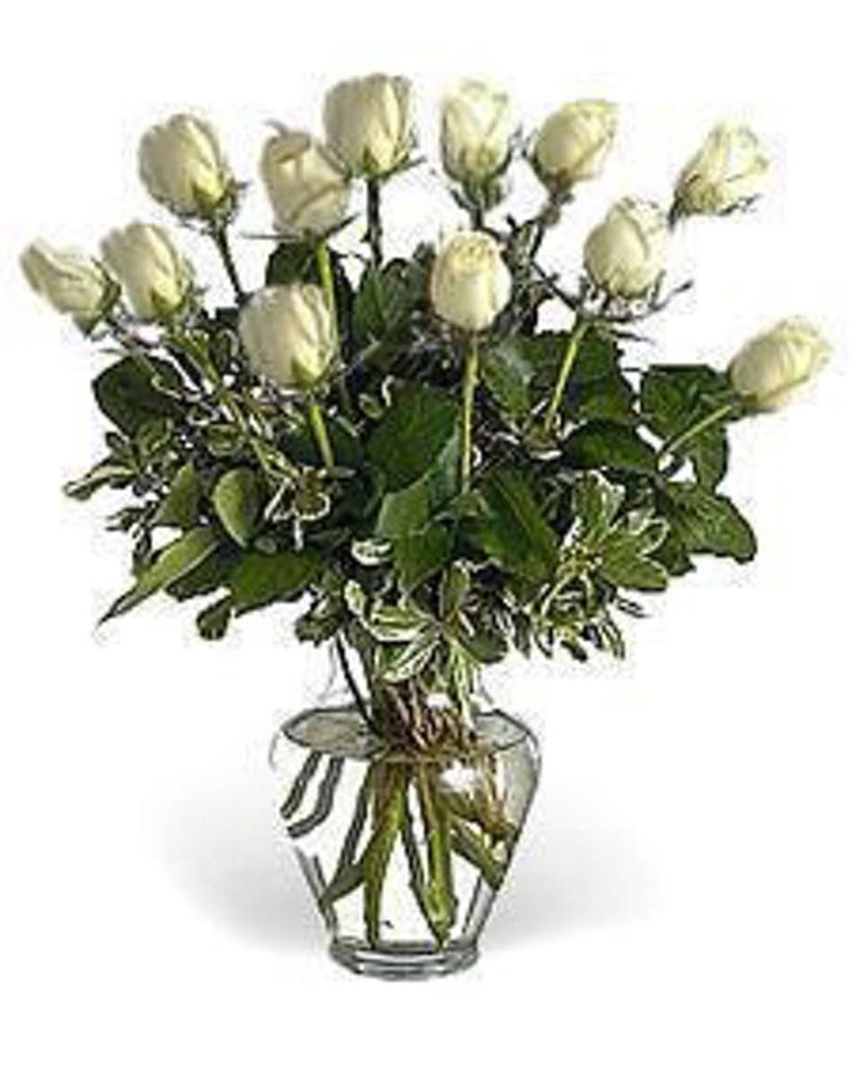 12 White Roses arranged in a vase-Standard