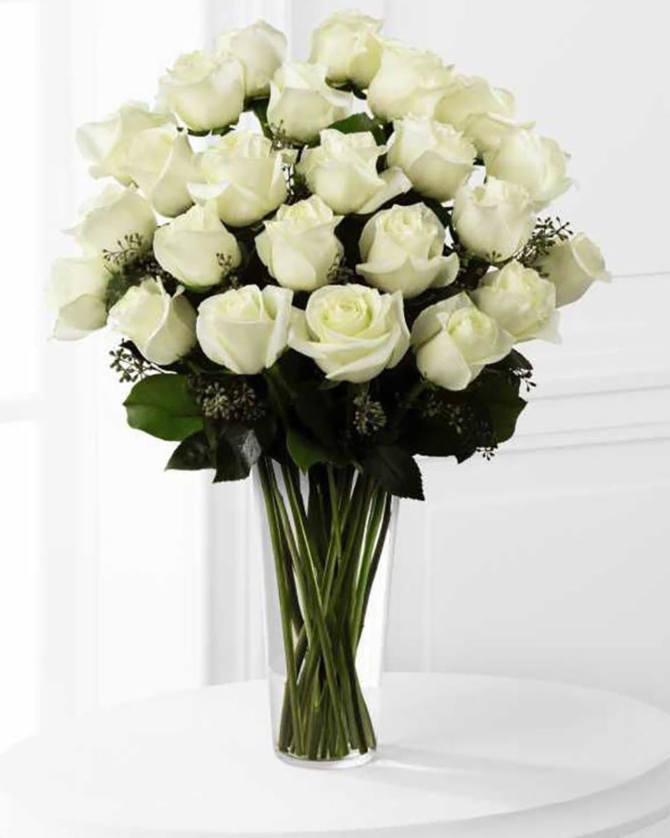 24 White Roses-Standard