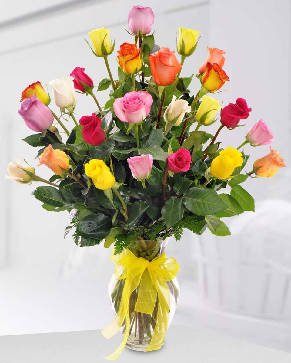 12 Mixed Roses arranged in a Vase