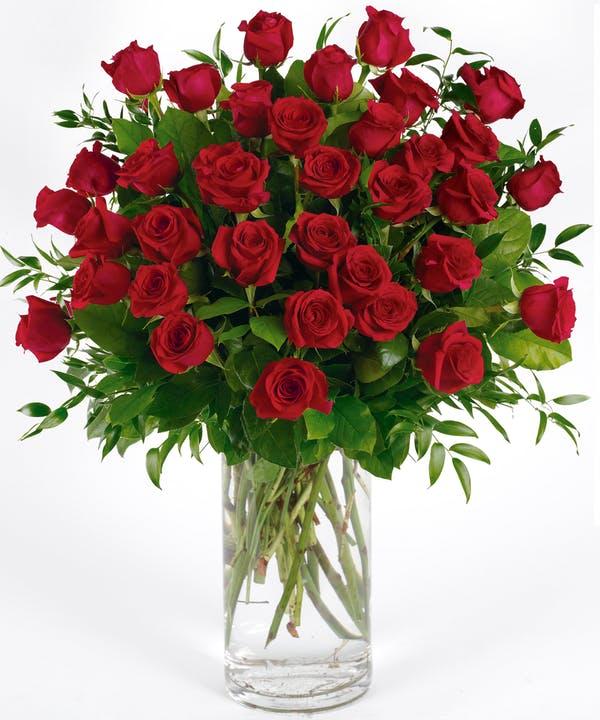 36 long Stem Red Roses Arranged in a Vase