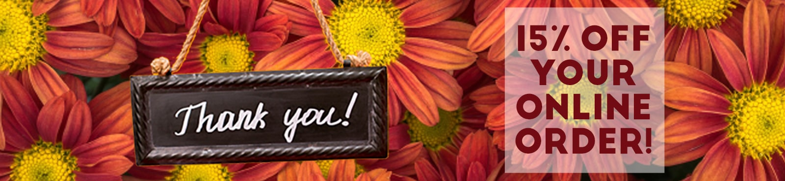 Thank you for being a customer, please accept this 15% off code: 15off. text on image of pink daisies