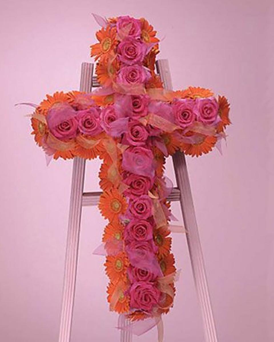 Gebera and Rose Cross-Standard (24 Inch)