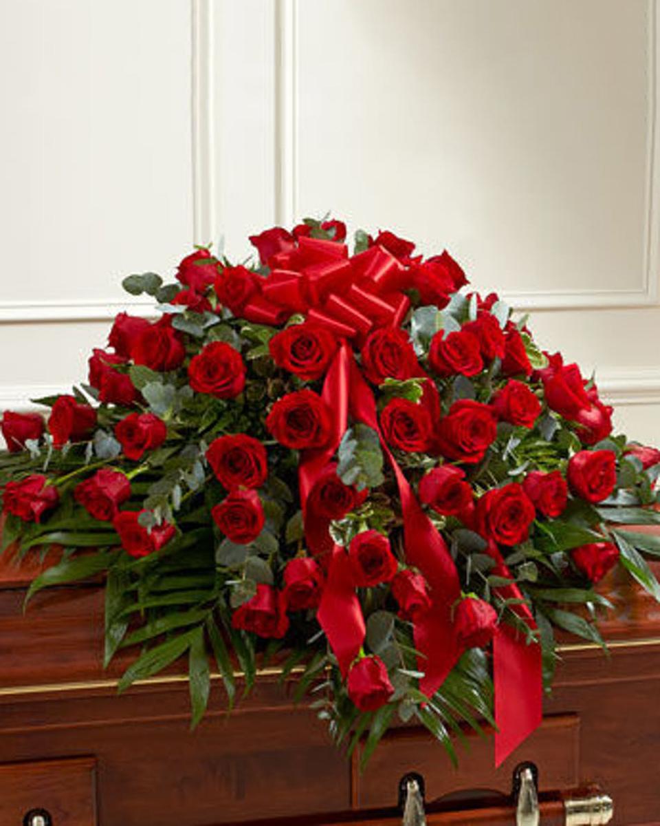 Only Red Roses- Half Casket Spray-Standard (48 Roses)
