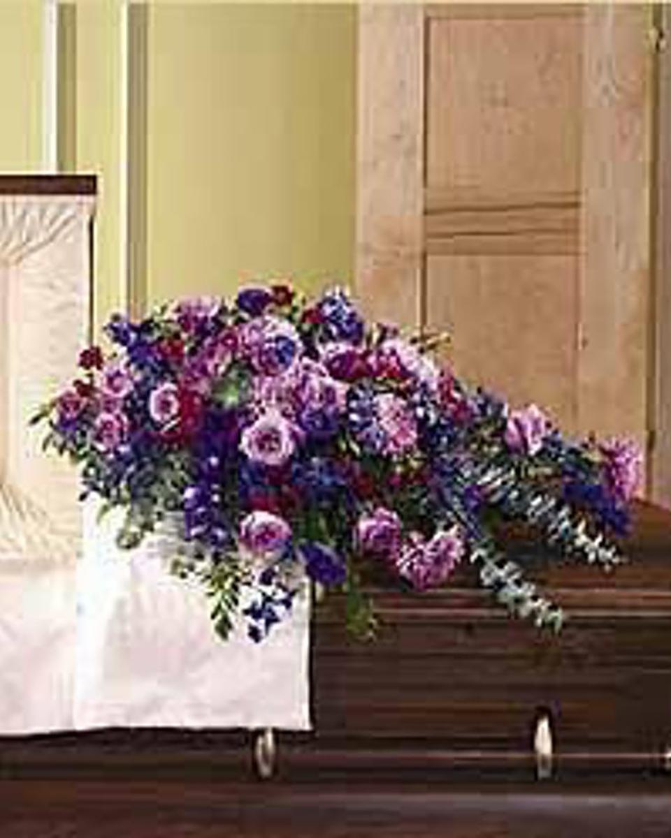 Purple Majesty Half Casket Spray-Standard