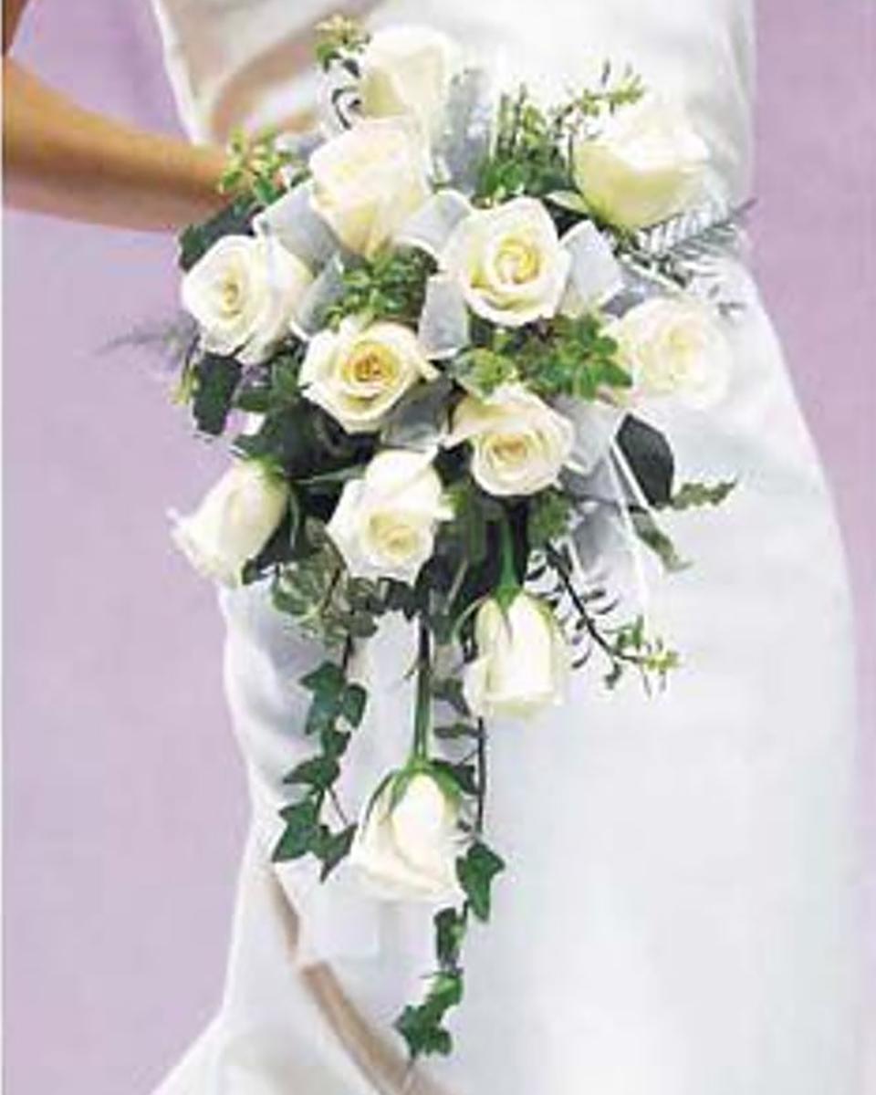Cascading White Roses-Standard (12 Roses)