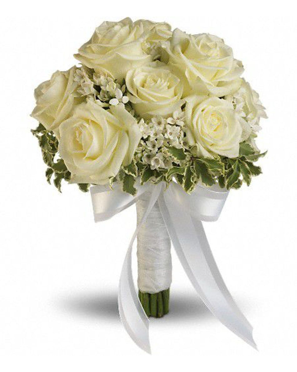 Only White Roses Bouquet-Standard (12 Roses)