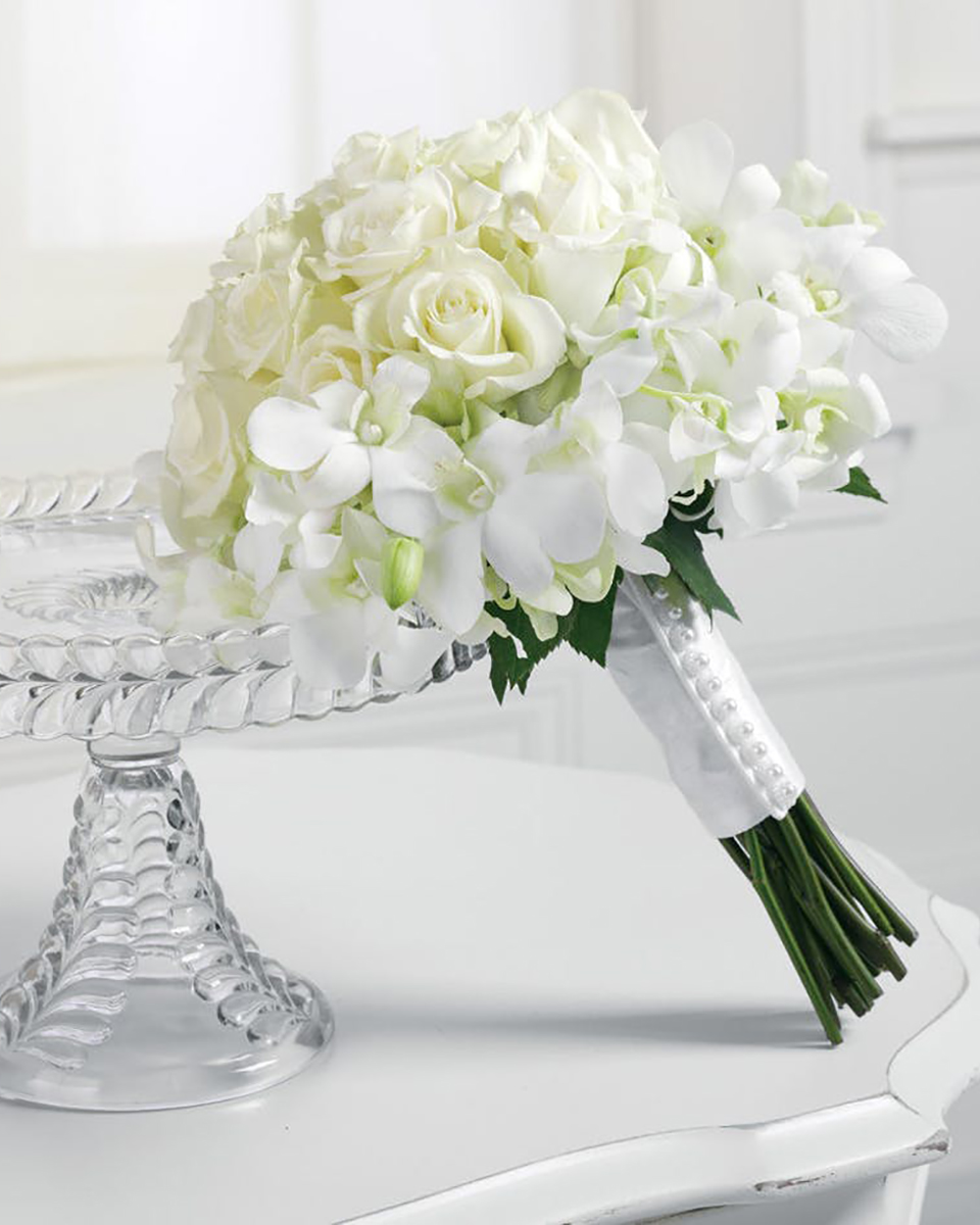 Rose and Dendro Orchid Bridal Bouquet-Standard
