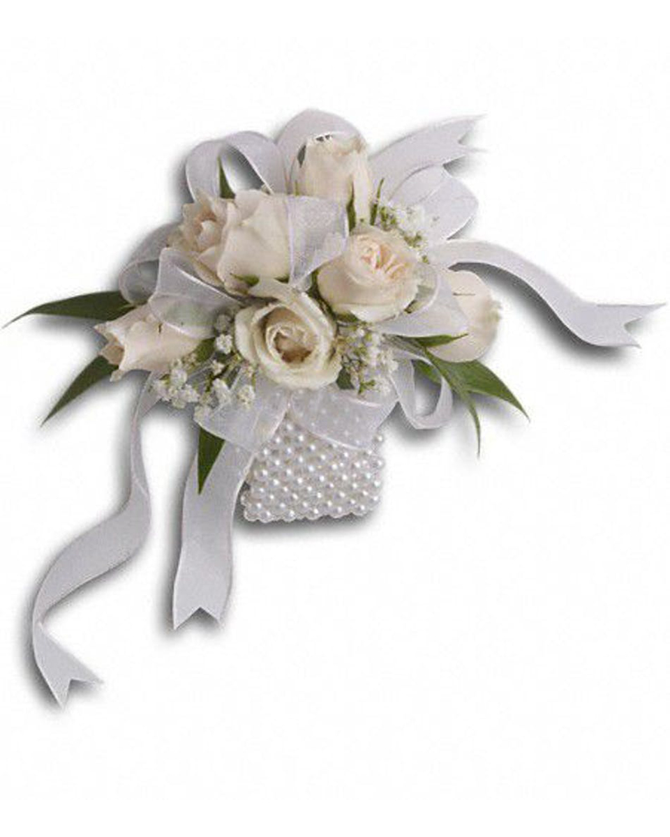 Pearls and Roses Corsage-Standard