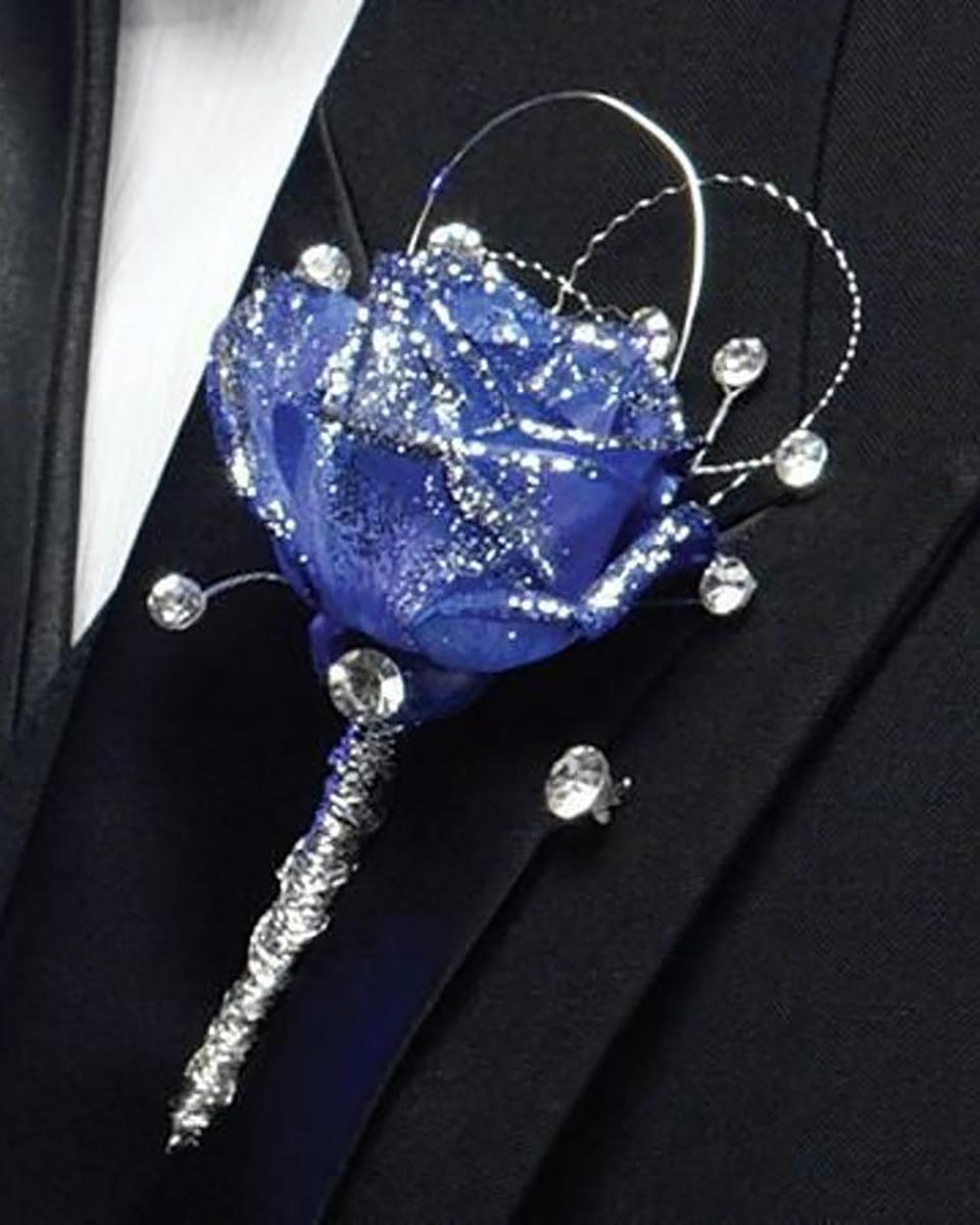 Blue Bejeweled Rose Bout-Standard
