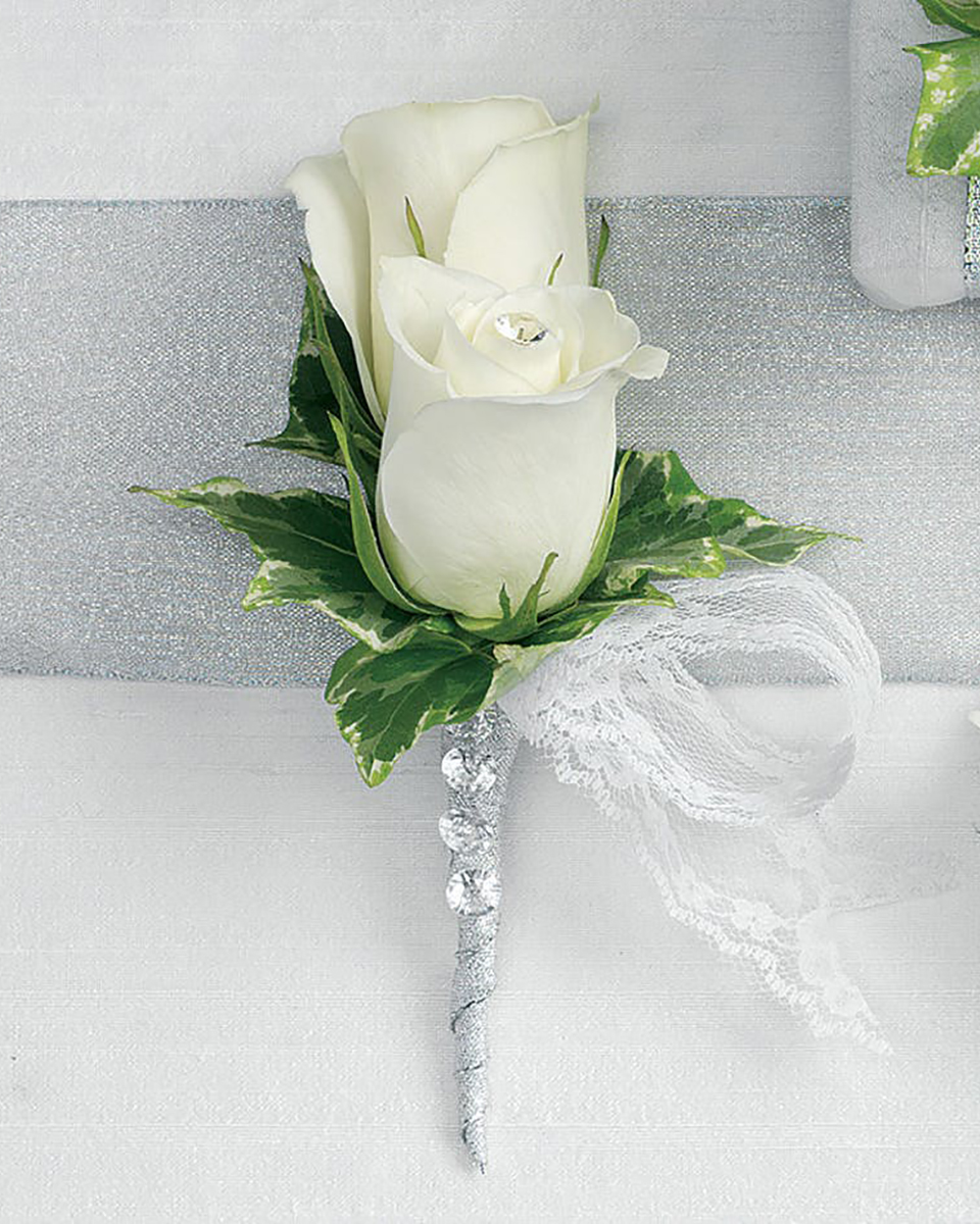 Double White Rose Bout with Studs-Standard